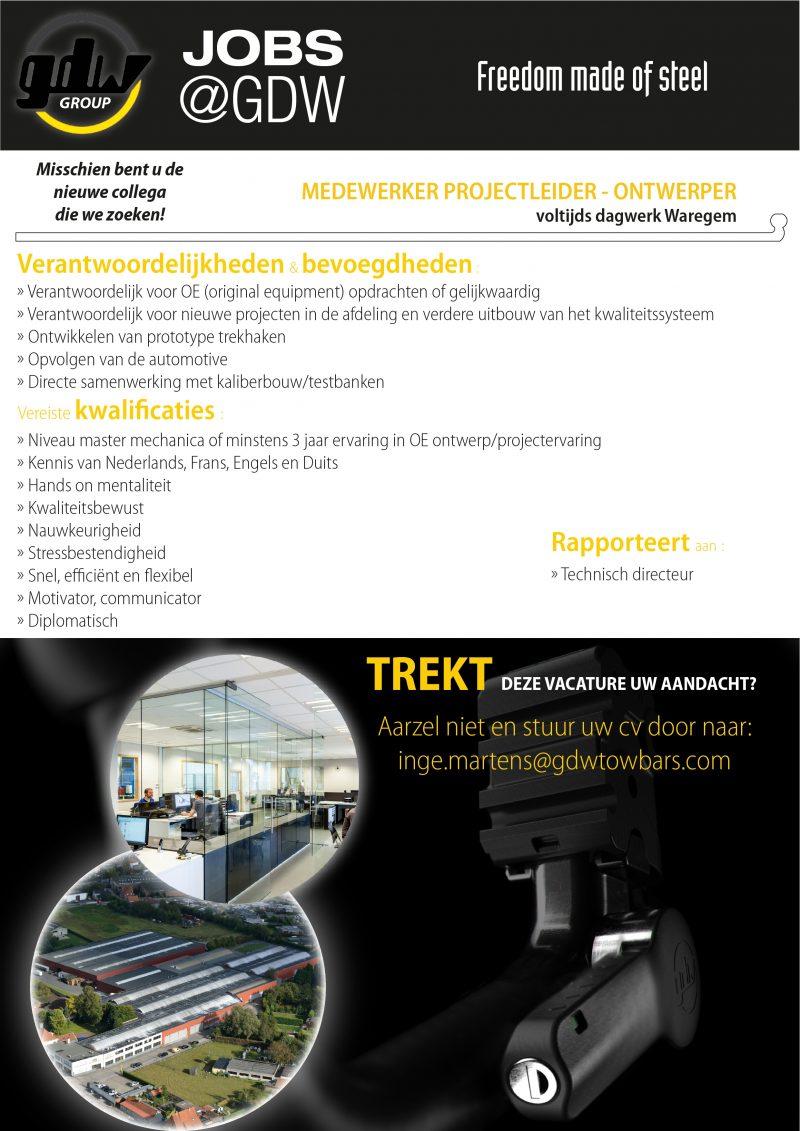 Vacature Medewerker Projectleider Ontwerper Nieuwe Layout 01