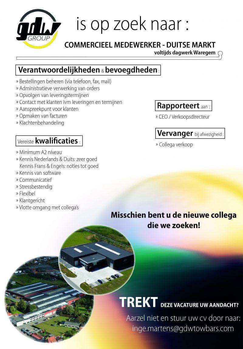 Vacature Commercieel Medewerker Duitse Markt